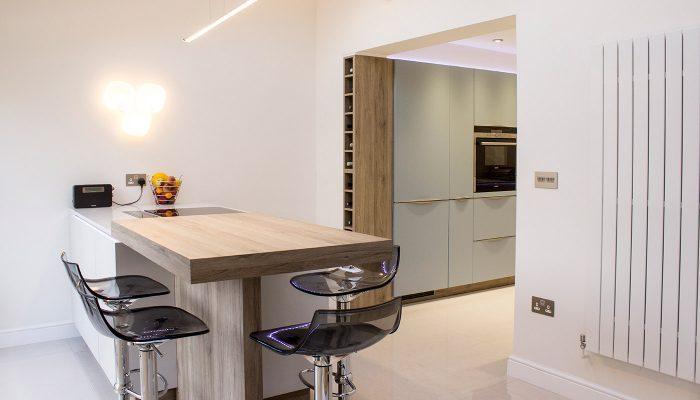 Blue and grey matt lacquer kitchen – Linton, Cambridgeshire