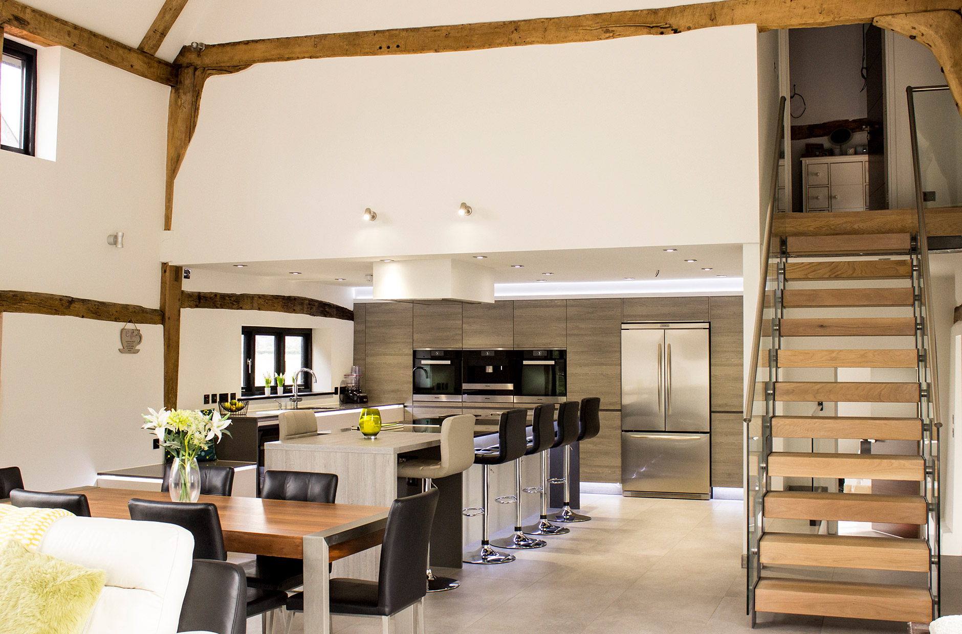 Open Plan Contemporary Kitchen For Barn Conversionu2013woodbridge_slide5
