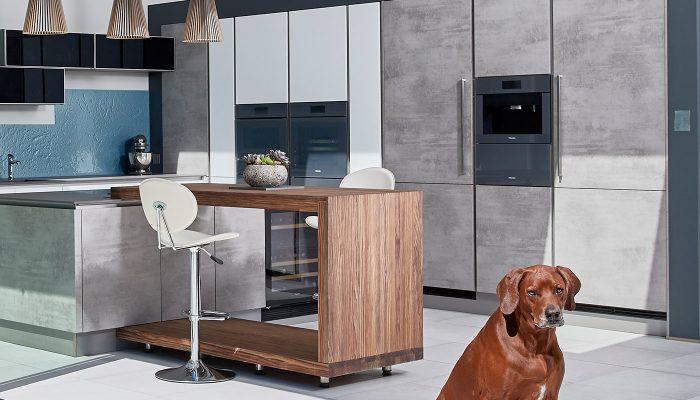 Grey Concrete Effect handle-less kitchen Bury St Edmunds