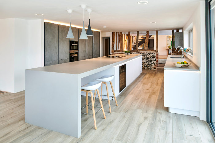 client kitchen showing Alno Starline island with lighting