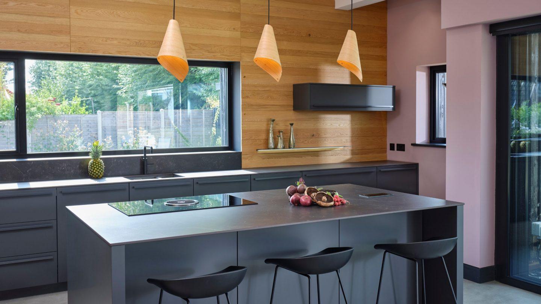 Modern kitchen island dark grey